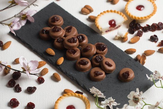 Plate of Cherry Bakewell Caramels