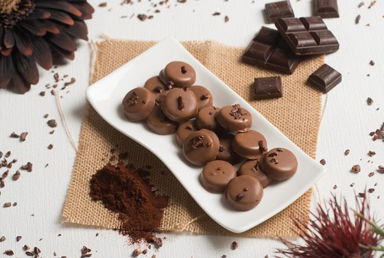 Plate of Cocoa Nibbed Caramels