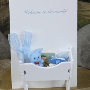 Baby Crib Blue Handmade Card