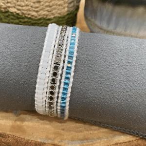 Vegan White and Blue Bracelet