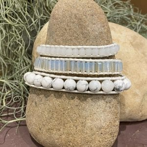 Neutral Howlite Beads and Crystals on White Bracelet