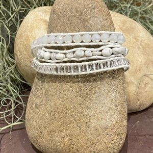 Neutral and White Crystals on White bracelet