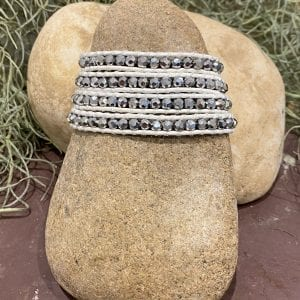 Silver Crystals on White Bracelet