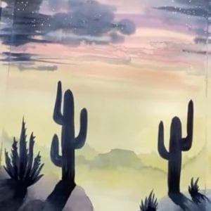 Arizona Desert in Watercolours Tutorial