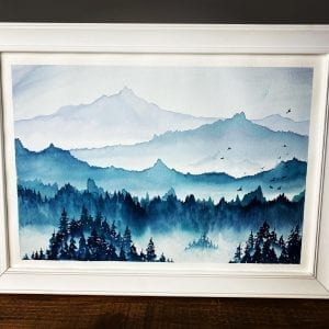 Original Painting - Misty Mountains A3