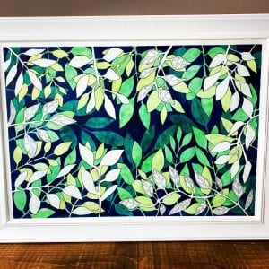 Original Painting - Negative Leaves A3