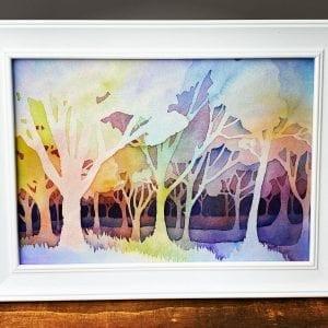 Original Painting - Negative Trees A4