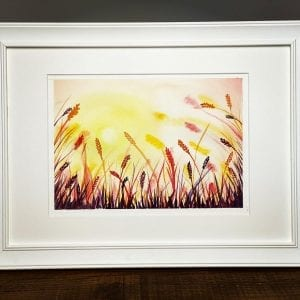 Original Painting - Sunset Field A4
